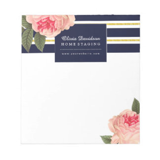 Customizable Coral and Navy Peonies Notepad