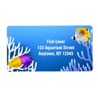 Customizable Coral Reef Aquarium Fish Label