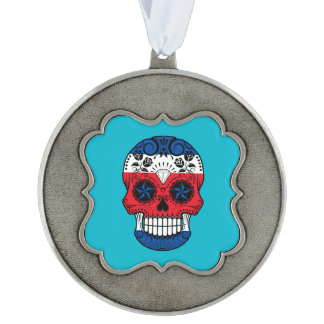 Customizable Costa Rican Sugar Skull with Roses Scalloped Ornament