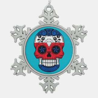 Customizable Costa Rican Sugar Skull with Roses Ornament