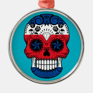 Customizable Costa Rican Sugar Skull with Roses Christmas Tree Ornament