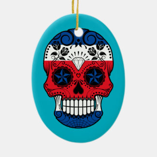 Customizable Costa Rican Sugar Skull with Roses Christmas Tree Ornaments