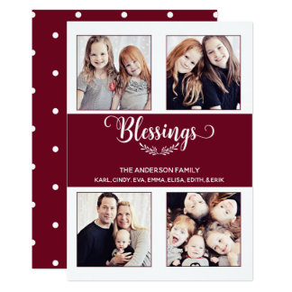 CUSTOMIZABLE Cranberry Red with White Dots Card