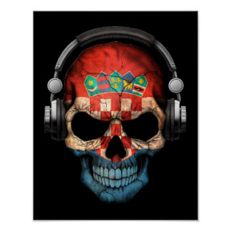 Customizable Croatian Dj Skull with Headphones Poster