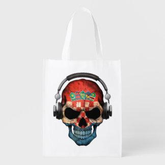 Customizable Croatian Dj Skull with Headphones Reusable Grocery Bag