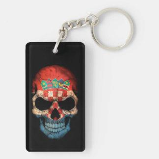 Customizable Croatian Flag Skull Keychain