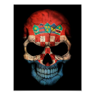 Customizable Croatian Flag Skull Poster