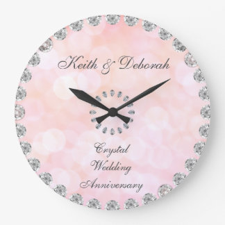 Customizable Crystal Wedding Anniversary Large Clock