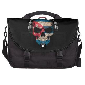 Customizable Cuban Dj Skull with Headphones Laptop Messenger Bag