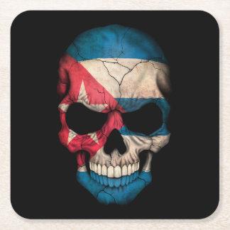 Customizable Cuban Flag Skull Square Paper Coaster
