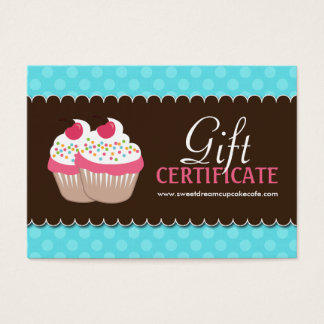 Customizable Cupcake Gift Certificate Large Business Card