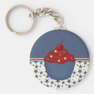 Customizable Cupcake on Blue Stars Basic Round Button Keychain