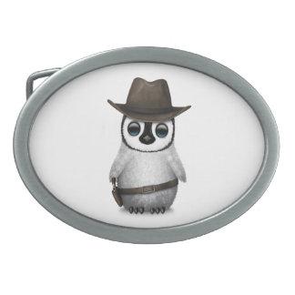 Customizable Cute Baby Penguin Cowboy Oval Belt Buckle