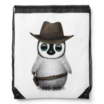 Customizable Cute Baby Penguin Cowboy Drawstring Bag
