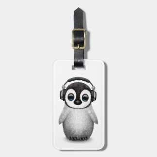 Customizable Cute Baby Penguin Dj with Headphones Bag Tag