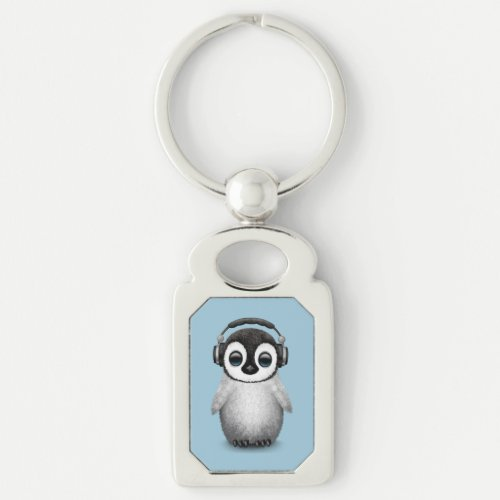 Customizable Cute Baby Penguin Dj with Headphones Keychain