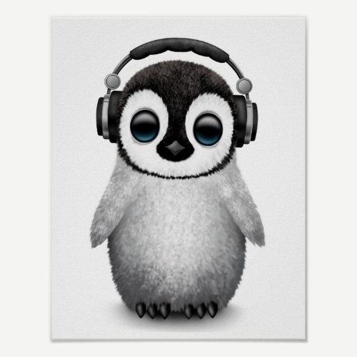 Customizable Cute Baby Penguin Dj with Headphones Poster