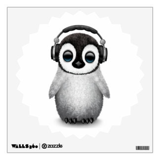 Customizable Cute Baby Penguin Dj with Headphones Wall Sticker