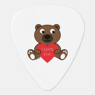 Customizable Cute Brown Bear with Heart I love You Guitar Pick