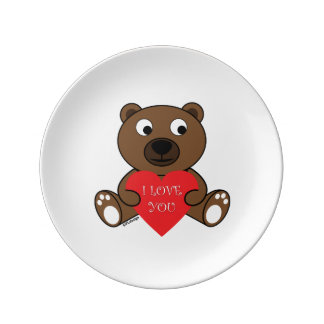 Customizable Cute Brown Bear with Heart I love You Porcelain Plate