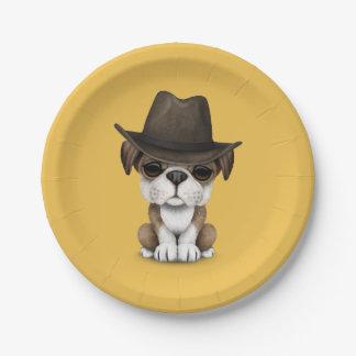 Customizable Cute Bulldog Puppy Cowboy Paper Plate
