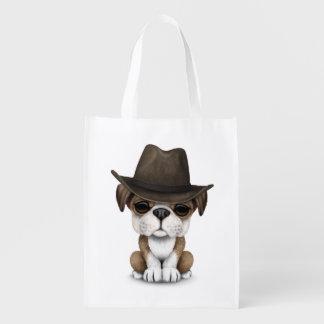 Customizable Cute Bulldog Puppy Cowboy Reusable Grocery Bag