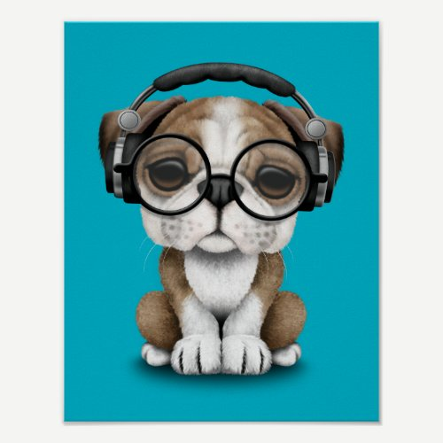 Customizable Cute Bulldog Puppy Dj with Headphones Poster