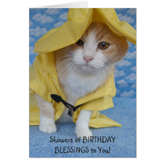 Customizable Cute Cat Shower of Blessings Birthday Card