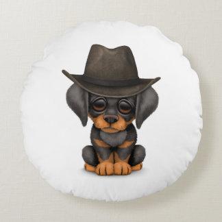 Customizable Cute Doberman Puppy Cowboy Round Pillow