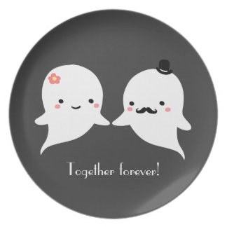 Customizable Cute Ghost Couple Melamine Plate
