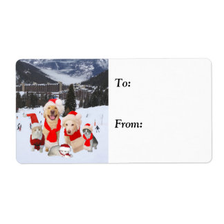 Customizable Cute Holiday Pets Label