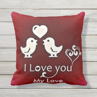 Customizable Cute Little Lovebirds Pillow