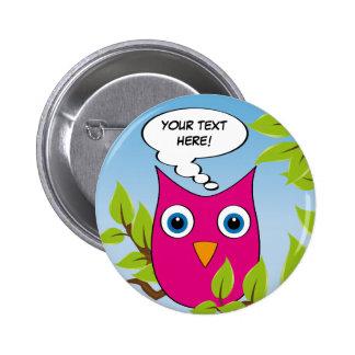 Customizable cute little owl - multiple colors pinback button