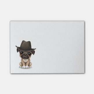 Customizable Cute Pug Puppy Cowboy Post-it® Notes