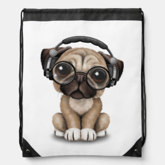 Customizable Cute Pug Puppy Dj with Headphones Drawstring Bag