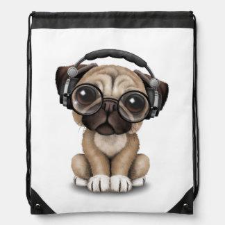 Customizable Cute Pug Puppy Dj with Headphones Drawstring Bag