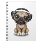 Customizable Cute Pug Puppy Dj with Headphones Notebook
