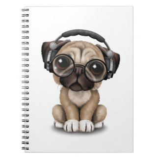 Customizable Cute Pug Puppy Dj with Headphones Notebook