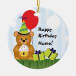 Customizable Cute Teddy Bear Birthday Ornament