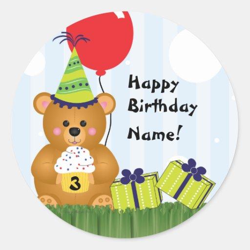 Customizable Cute Teddy Bear Birthday Sticker