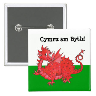 Customizable Cute Welsh Dragon Square Button