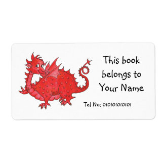 Customizable Cute Welsh Red Dragon Bookplate Custom Shipping Label