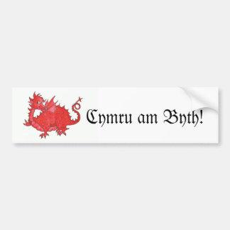 Customizable Cute Welsh Red Dragon Bumper Sticker Car Bumper Sticker