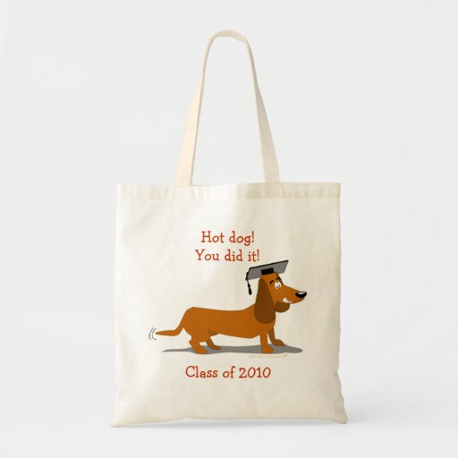 Customizable Dachshund Dog Graduation Template Bags