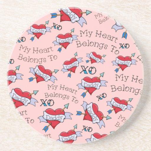 Customizable Daddy Tat Heart Drink Coaster