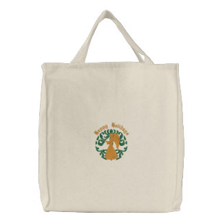 Customizable Damask Angel Embroidered Tote Embroidered Bag
