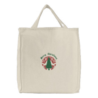 Customizable Damask Christmas Tree Tote Bag