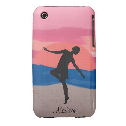 Customizable Dancer on the Beach at Sunset Case-Mate iPhone 3 Cases