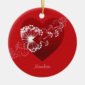 Customizable: Dandelion love heart Ornaments
