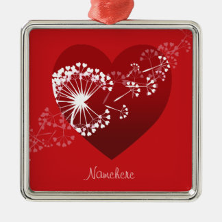 Customizable: Dandelion love heart Ornament